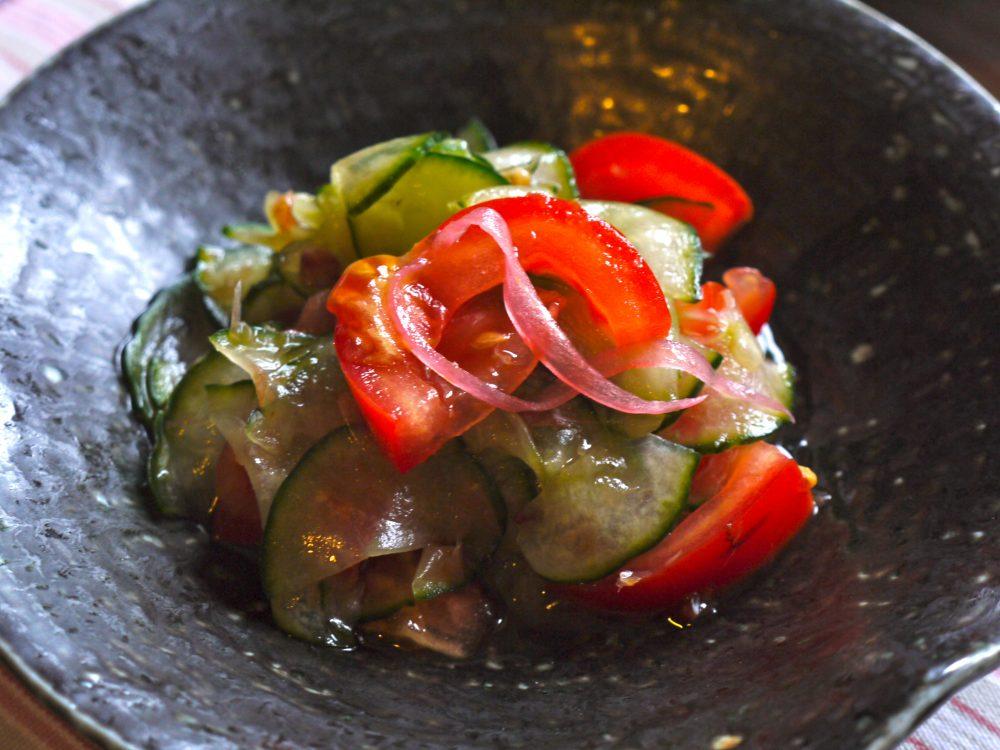cucumber & tomato sunomono