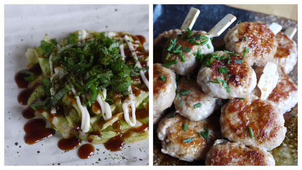 Vegetarian okonomiyaki tsukune